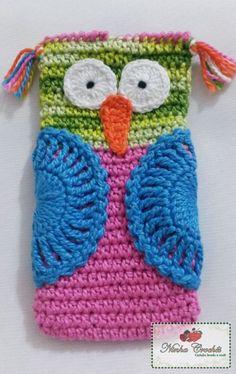 Capa para celular em formato de coruja | Ninha Crochês | Elo7