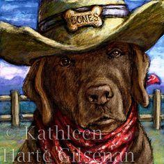 """Chocolate Lab Art """"Cowboy Lab"""" 16""""x16"""" Framed Print on Etsy, $95.00"""