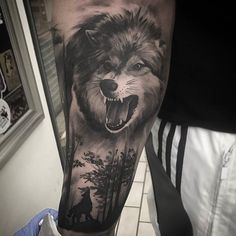 The wolf tattoo could symbolize perseverance but not only Last week, you decided to approach the meaning of the tattoo wolf. The wolf is very … by Calve Tattoo, Forearm Band Tattoos, Arm Tattoo, Wolf Tattoos Men, Bear Tattoos, Badass Tattoos, Wolf Tattoo Sleeve, Tattoo Sleeve Designs, Sleeve Tattoos