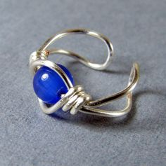 Sterling Silver Ear Cuff Cobalt Royal Blue Cat's by WireYourWorld