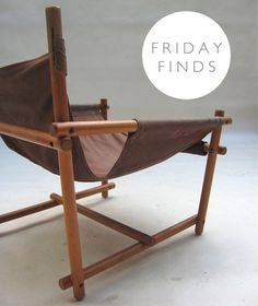 FRIDAY FINDS - VINTAGE SLING CHAIR Outdoor Chairs, Outdoor Furniture, Outdoor Decor, Danish Modern, Bassinet, Safari, Accent Chairs, Armchair, Woodworking
