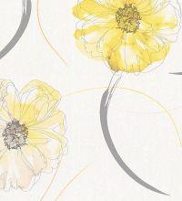 Papel pintado flores de acuarela amarillas estilo moderno - 40570