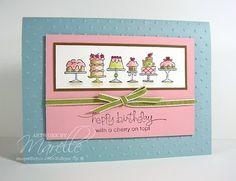 Marelle Taylor - birthday card using Stampin' Up! Birthday Bakery set