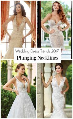 Wedding Dresses with Plunging Necklines by Mon Cheri Bridals