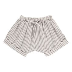 BUHO Keke Striped Linen and Cotton Shorts Light grey