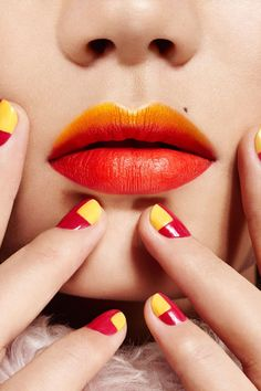 """Jaw-Dropping Makeup Looks Guaranteed To Inspire #refinery29  http://www.refinery29.com/beauty-rules-for-eye-makeup#slide-8  You've surely seen an ombré lip while doing your very own beauty stalking. But consider these sunset shades the dawn of a new trend. (Yeah, we went there.) To create this look, Anthony filled in the lips with <a href=""""https://ad.doubleclick.net/ddm/clk/295961943;122956969;g?http://www.maybelline.com/Products/Lip-Makeup/Lip-Color/Lip-Studio-Color-Blu..."""