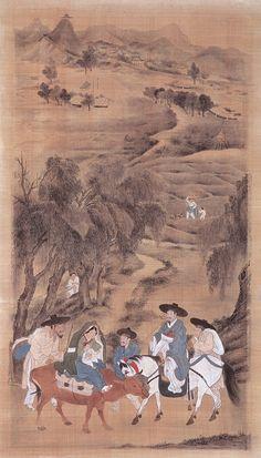 (Korea) A roadside affair from holding screens of 1778 by Kim Hong-do Guimet museum of France. Korean Traditional, Traditional Art, Korean Painting, Vietnam, Korean Art, Old Paintings, Japan Art, Conceptual Art, Chinese Art