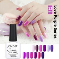 10 미리리터 12 색 로맨틱 보라색 시리즈 UV 젤 네일 폴란드어 광택 젤 폴란드어 네일 아트 매니큐어 무료 배송 네일 폴란드어