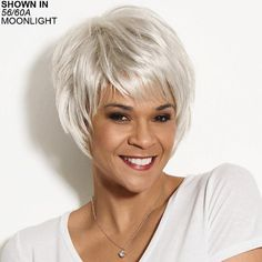 Edgy Trendy Pixie Wigs With Feathery Piecey Razor-Cut Layers Grey Wig, Short Grey Hair, Short Hair With Layers, Layered Hair, Short Hair Cuts, Short Hair Styles, Short Hairstyles For Women, Bob Hairstyles, Straight Hairstyles