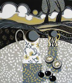 Two Trees ~ Linocut Reduction ~ Jane Walker