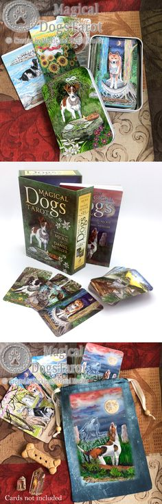 Magical Dogs Tarot, coming in September! Available for pre-order from Llewellyn, Amazon, and Barnes & Noble. Can't wait? It's ok, we have prints, tarot bags, tins, and garden flags in the official Magical Dogs Tarot Etsy shop! Woof!