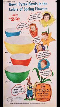 Vintage Pyrex, Vintage Kitchenware, Vintage Dishes, Vintage Glassware, Vintage Bowls, Retro Ads, Vintage Advertisements, Vintage Ads, Vintage Stuff