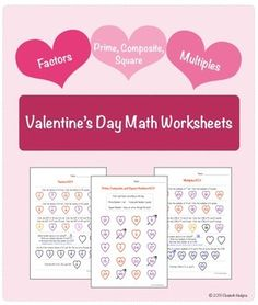 Students will practice identifying prime, composite, and square numbers, finding factors, GCF, multiples, and LCM with these three heart-themed worksheets.  Answer keys to all 3 worksheets are included.  See preview and thumbnails for a closer look at the worksheets!