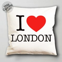 i love london pillow case, cushion cover ( 1 or 2 Side Print With Size 16, 18, 20, 26, 30, 36 inch )