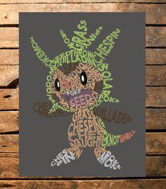 Pokemon Chespin Typography Digital Print by TaracottaSunrise