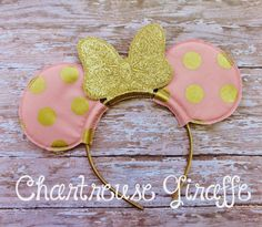 Gold & Blush Pink Minnie Mouse inspired Ears Headband by JennsCGBoutique on Etsy https://www.etsy.com/listing/240986052/gold-blush-pink-minnie-mouse-inspired