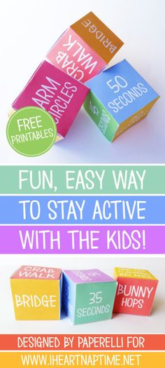 Whether your kids have sat in front of a good book or an iPad you still need to keep them active. This free printable makes a set of cubes that the kids can roll. This is a great activity for bored…
