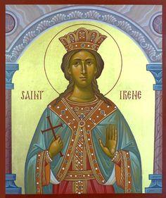 Irene the Great Martyr by Dmitry Shkolnik Russian Icons, St G, Byzantine Art, Orthodox Icons, Religious Art, Sunday School, Christianity, Wonder Woman, Faith
