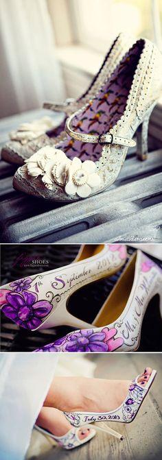 Zapatos de novia con estilo. Zapatos de novia pintados a mano