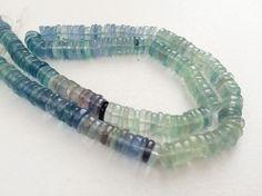Fluorite Tyre Beads Aqua Green Fluorite Plain by gemsforjewels
