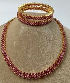 Ruby Necklace Designs, Gold Ruby Necklace, Indian Gold Necklace, Ruby Bangles, Gold Bangles Design, Jewelry Design, Gold Jewelry, Ruby Jewelry, Diamond Jewellery