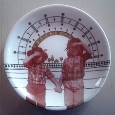 Ayse Balyemez Laser printer decal and onglaze luster on porcelain plate, Eskisehir 2009.