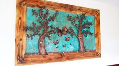 Two-meter image from old wood, trees and butterflies of copper