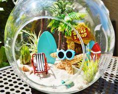 Surf Shop Terrarium Starfish with Sunglasses Tall Palm