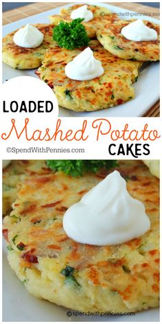 You Have Meals Poisoning More Normally Than You're Thinking That Loaded Mashed Potato Cakes These Are An Amazing Way To Use Up Mashed Potatoes. Also, You Can Add So Many Delicious Things To These, The Possibilities Are Endless Loaded Mashed Potatoes, Mashed Potato Recipes, Potato Dishes, Vegetable Dishes, Vegetable Recipes, Food Dishes, Vegetarian Recipes, Cooking Recipes, Healthy Recipes