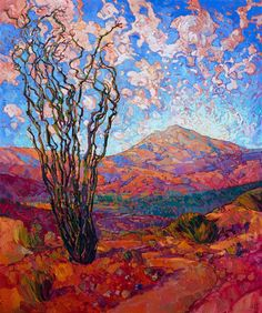 $24,000 60 x 72  oil on canvas 2016  Contemporary desert oil painting landscape in bright colors, Arizona ocotillos, by Erin Hanson.