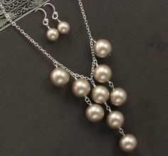 Items similar to Bridesmaid Necklace, Pearl Wedding Party Jewelry, Platinum Bronze Pearl Bridal Party Gift Jewelry Set on Etsy Pearl Jewelry, Wire Jewelry, Jewelry Sets, Wedding Jewelry, Beaded Jewelry, Jewelery, Handmade Jewelry, Jewelry Stores, Jewelry Websites