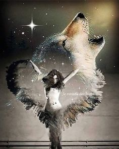 Feed the wolf inside you. Fantasy Wolf, Dark Fantasy Art, American Indian Art, Native American Art, Wolves And Women, Wolf Artwork, Wolf Painting, Wolf Spirit Animal, Wolf Wallpaper