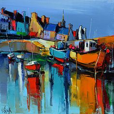 French Art Network | Lepape, Eric - AU FOND DU PORT - (50x50cm) - oil on linen painting.