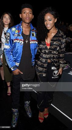 Actor Bryshere Y. Gray and Actress Serayah McNeill attends Jeremy Scott Spring 2016 during New York Fashion Week: The Shows at The Arc, Skylight at Moynihan Station on September 14, 2015 in New York City.