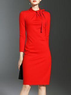 Red Sheath Bow Elegant Plain Midi Dress