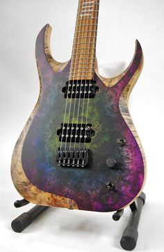 Skervesen Nebelung6. Extra thick poplar burl top with custom staining. Custom inlay, WDMod, baritone scale.