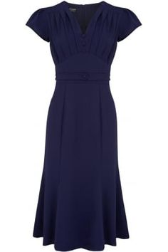 Bacall pleated dress in stretch crepe