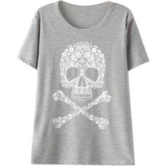 Choies Gray Skull Print Short Sleeve T-shirt ($18) ❤ liked on Polyvore