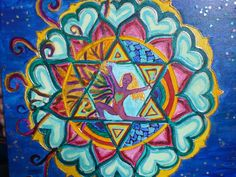 A dancing yogi aflame at her heart chakra by Emily