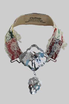 Necklace |  Machteld Van Joolingen.  Fabric art