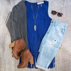 Sequoia Fringe Top - Blue