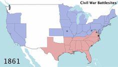 mapsontheweb:  American Civil War battlesites over time