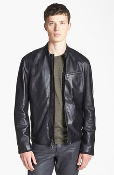 John Varvatos Star USA Leather Moto Jacket available at #Nordstrom