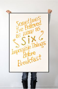 Edible Typographic Quote Poster from Through the Looking Glass {Lewis Carrol } // Cereal Typography Poster by Jack Lin