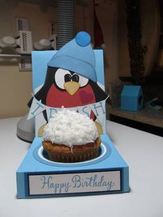 Birthday Penquin by figaro - Cards and Paper Crafts at Splitcoaststampers Penguin Cupcakes, Penguin Party, Mug Cupcake, Cupcake Cakes, School Treats, Punch Art, Calla Lily, Paper Piecing, Homemade Cards