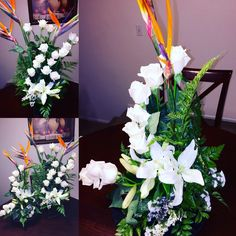 White Roses With Bird Of Paradise And Lily Spiral Flower Arrangement Original Creation By