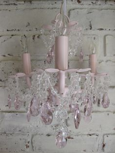 Not sure which I like more--the shabby chic pink chandelier or the white brick walls. Could give this lamp to Lora Weaver in my books. Decor, I Believe In Pink, Shabby, Home Decor, Pink, Pink Chandelier, Shabby Cottage, Shabby Chic Homes, Chic Home Decor