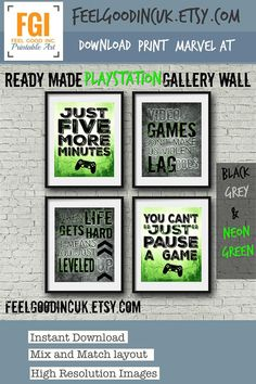 READY MADE - PlaystationController - GALLERY WALL - NEON GREEN HIGHLIGHTS - Playstation POSTERS - - - - - - - - - - - - - - - - - - - - - - - - - - - - - - - - - - - - - - - - - - - - - - - - - - - - This combination of prints was a customer request - such a great combination! Each of