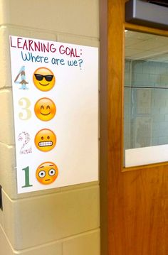 "Emoji Lesson Scale - Relatable and current. Students leave a post-it note next to a number/face to rate their understanding as they leave class. Cool Idea for formative assessment to see if they ""got it"" :) Middle School Classroom, New Classroom, Classroom Decor, Learning Targets, Learning Goals, Teaching Strategies, Teaching Tips, Teacher Tools, Teacher Resources"