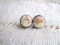 Whole Wide World- Vintage World Map Stud Earrings- Antique World Map- Nickel free stud earrings, $20.00, via Etsy.